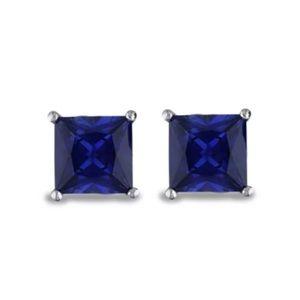 2 ct Princess Cut Blue Sapphire Stud Earrings